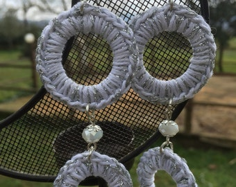 Earrings double circle crochet