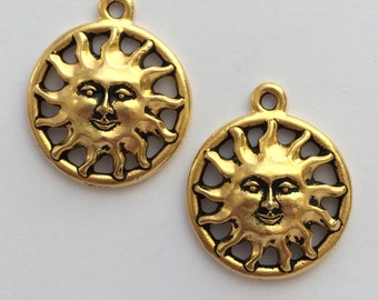 2 Gold Sunshine Charm, Pewter, package of 2