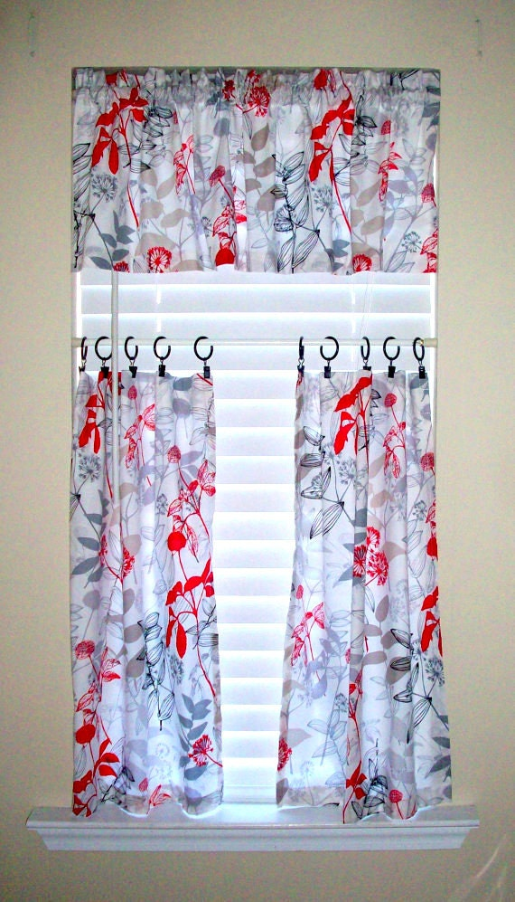 Items similar to kitchen cafe curtains 2 panels tiers valance sold seperately waverly - Waverly kitchen curtains ...