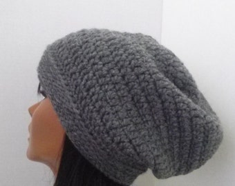 Gray Slouchy Beanie, Womens Gray Slouchy Hat, Hipster Baggy Beanie, winter hat,