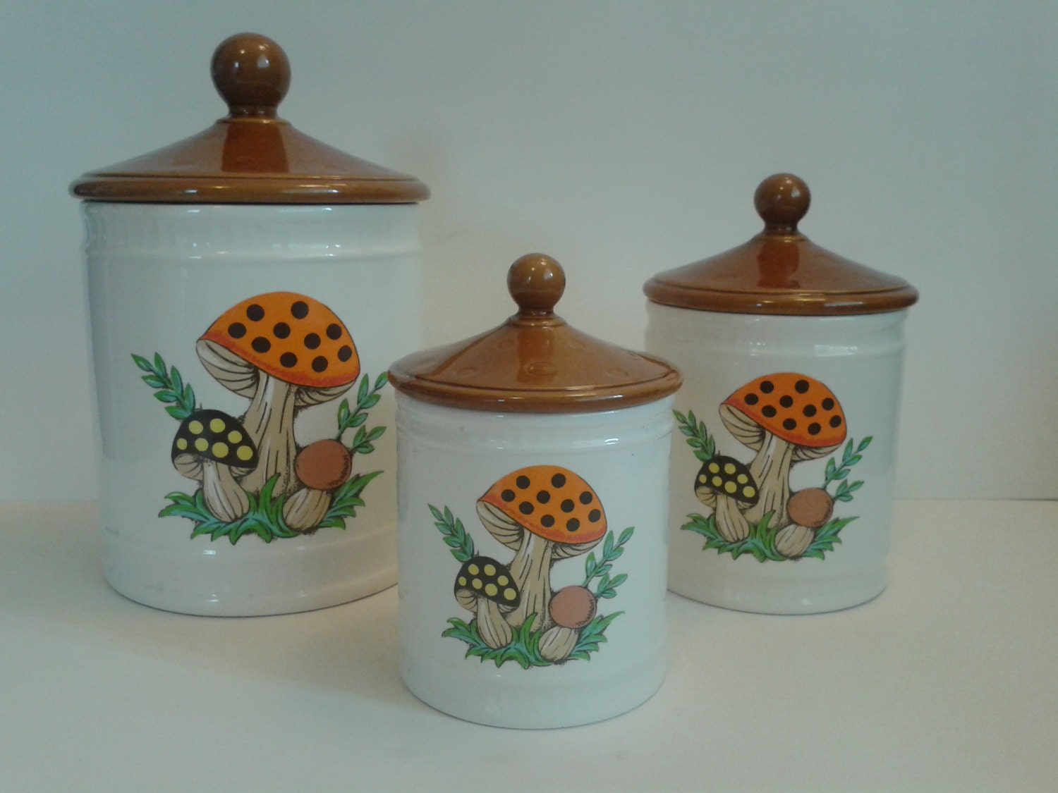 vintage ceramic canisters sears roebuck and company 1982