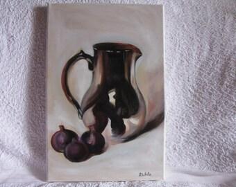 Still Life, Jug & Figs. Oil Painting. Linen Canvas. Size 41 cms Length, 27 cms Width.