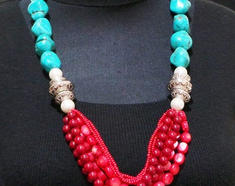 Turquoise and Red Coral Necklace