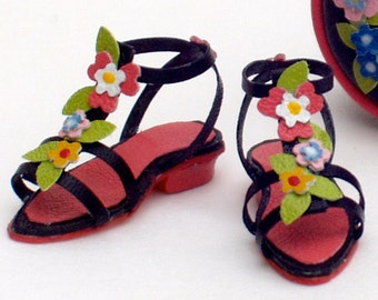 original low-heeled summer sandals, various models, leather crafts, 1/12 scale