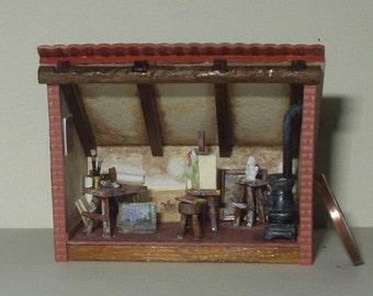 Atelier of the artist, roombox attic 1/144 scale, handmade, OOAK