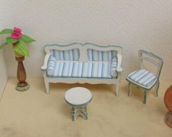 mobili miniatura scala 1/48 (divano, poltroncina, tavolino) stile gustaviano