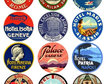 12 vintage luggage labels - Italy