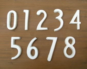 Modern House Numbers - Serpentine Font- White Matte
