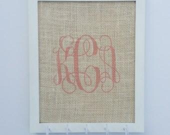 White frame earring holder, soft pink monogram
