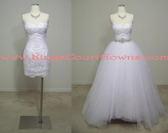 Replica Lace Sheath Wedding Dress Gown With Removable Tulle Skirt and Train and Beaded Waistline