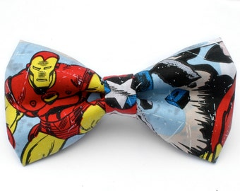 Iron Man Bow Tie | Superhero | Marvel | Avengers | Boys Bow Tie | Mens Bow Tie | Dog Bow Tie | Captain America | Gifts for Him
