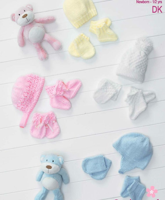 Knitting Patterns For Baby Mittens And Booties : Items similar to Knit baby Hats Mitts and Booties Set Vintage Knitting Patter...