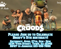 The Croods Birthday Party Invitation Digital File FREE Thank You Card