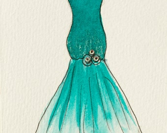 "Illustration, Original artwork, Original Illustration, Fashion Illustration, ""Aqua Trumpet Gown"""