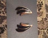 Vintage Black Enamel Gold Tone Stud Earrings