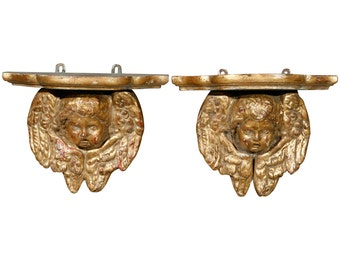 19th Century French Carved and Gilded Cherub Wall Consoles