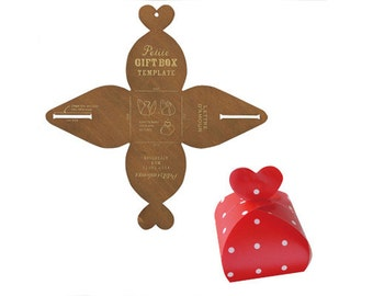 Japanese DIY Zakka Heart Gift Box Favour WOODEN TEMPLATE Pattern Stencil
