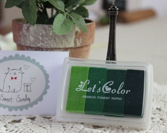 Lets Color 4-in-1 GREEN INK Rubber Stamp Pad/ Gradient Ink/ Premium Color Ink Pad 1pc
