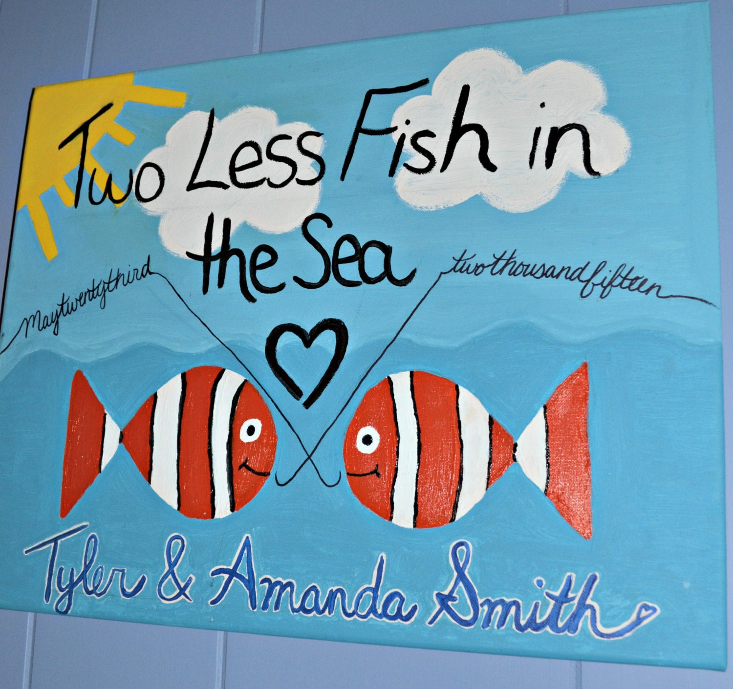 Two less fish in the sea canvas wedding gift for Two less fish in the sea