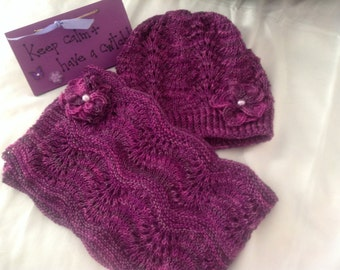 Hand knitted and hand dyed hat and scarf set in pure wool