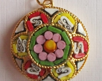 Vintage Micro Mosaic Pendant, Round Pendant, Flower Pendant, Summer Gift, Italian Made, High End Gift