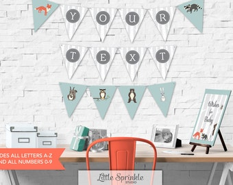 Woodland Baby Shower Bunting Banner A-Z  / Alphabet Bunting Banner /All Letters and Numbers / Printable Digital / INSTANT DOWNLOAD