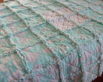 Cute Flannel Rag Baby Quilt in Hues of Light Aqua, Gray, and White
