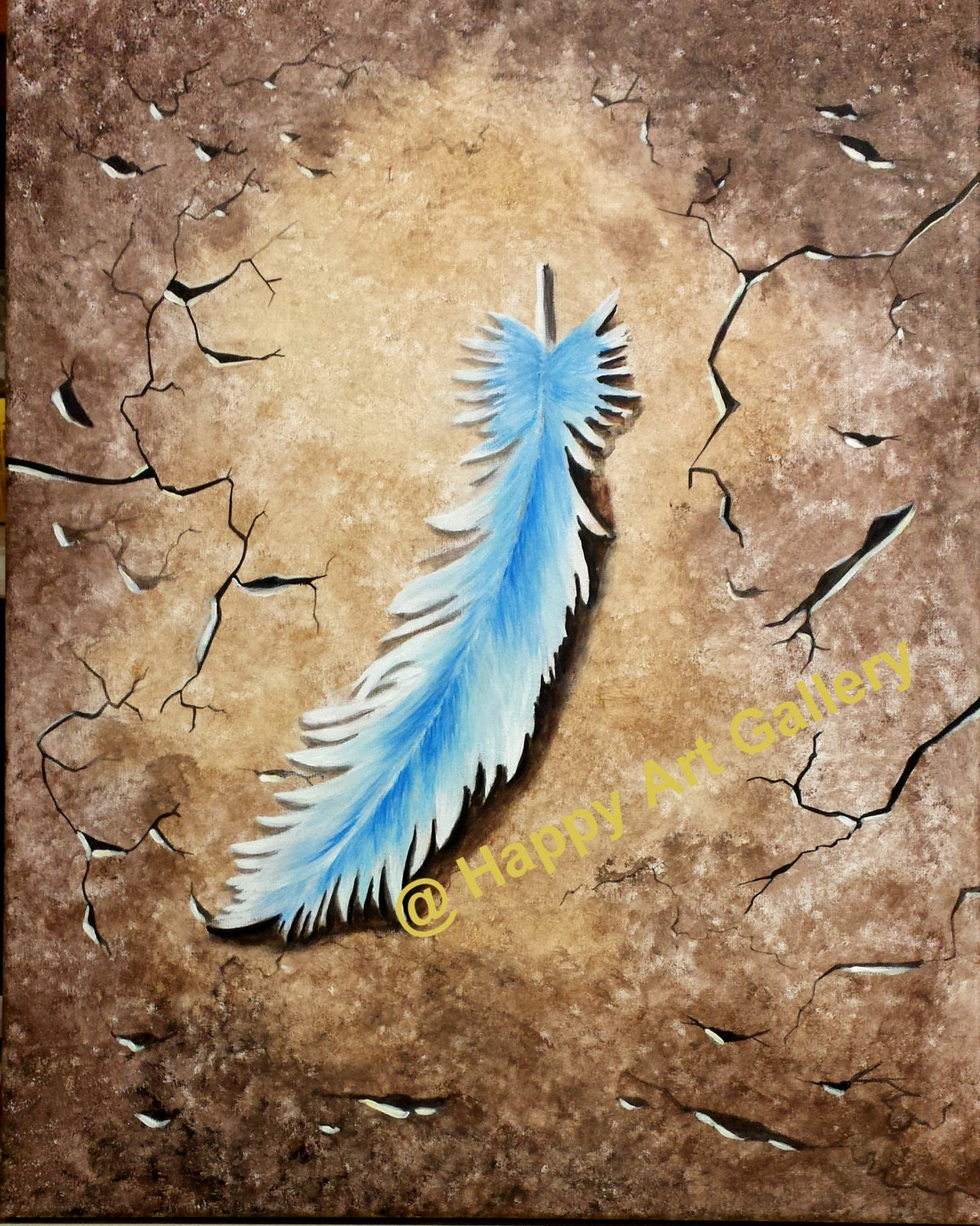 Feather abstract painting original artwork still life for Painting feathers on canvas