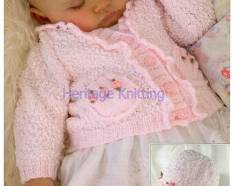 pink baby cardigan and hat knitting pattern 99p