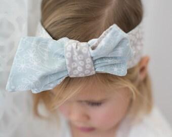 baby or child headwrap // reversible light blue/gray headband headwrap