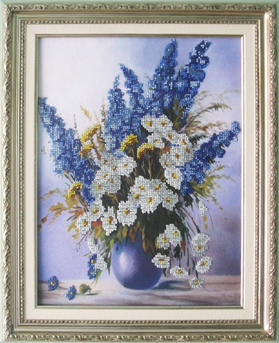 Bead embroidery on art canvas wild flowers chamomile by