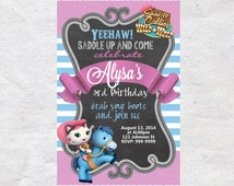 Sheriff Callie Birthday Invitation Invite Chalkboard Chevron Pattern Sheriff Callie Invitation Sheriff Callie Invite