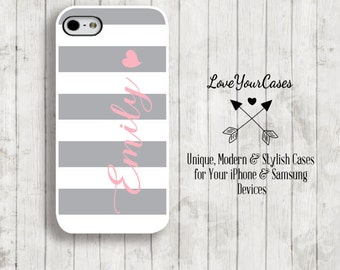 iPhone 6 Case, iPhone 6 Plus Case, iPhone 5 Case, iPhone 5c Case, Monogram Phone Case, Mint Stripes Case, Grey and White Stripes, Heart, 656