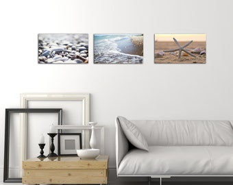 Set of 3. Ocean.Beach. Sand. Nautical Mood. Gallery Wrapped Canvas Print.