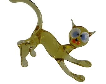 Cat Glass Figurine  Art Glass Murano Style Hand Blown Lampwork 4 Inch Long Collectible Gifts