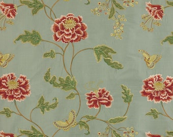 COLEFAX & FOWLER ORIENTAL Poppy Embroidered Floral Silk Stripes Fabric 10 Yards Aqua Shabby Pink Gold