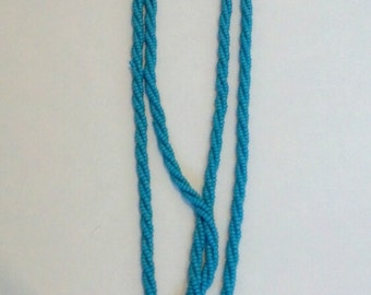 Vintage blue woven twist beaded necklace