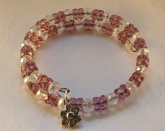 Purple Crystal Beaded Memory Wire Bracelet
