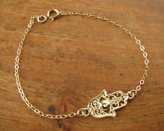 Hamsa, Bracelet hamsa, gold filled 14k, hand bracelet, hamsa bracelet, luck bracelet, evil eye bracelet, bracelet hamsa