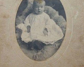 Vintage Baby Photo on fur pillow