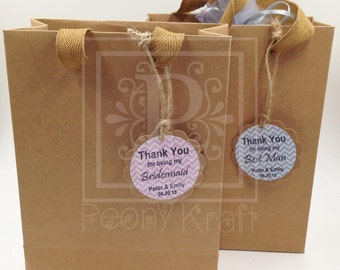 Set of 6, 8,10, 12 or 25  Wedding Gift Bags With Personalized Tags, Bridal Party Gift Bags, Birthday and Babyshower Gift Bags