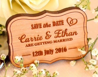 Wooden Vintage Save The Date Magnets, Custom save The Date, Personalised Wedding Magnets, Silver, Gold Mirror, Wooden Personalized magnets