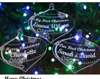 Any Engraving Personalised Christmas Tree Decoration Heart Bauble or Bauble Gift