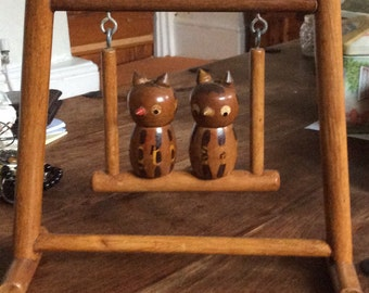 A Stunning Condiment set of a Pair of Salt and Pepper Rustic Owls Sat on a Swing,Hand Made,One Off.