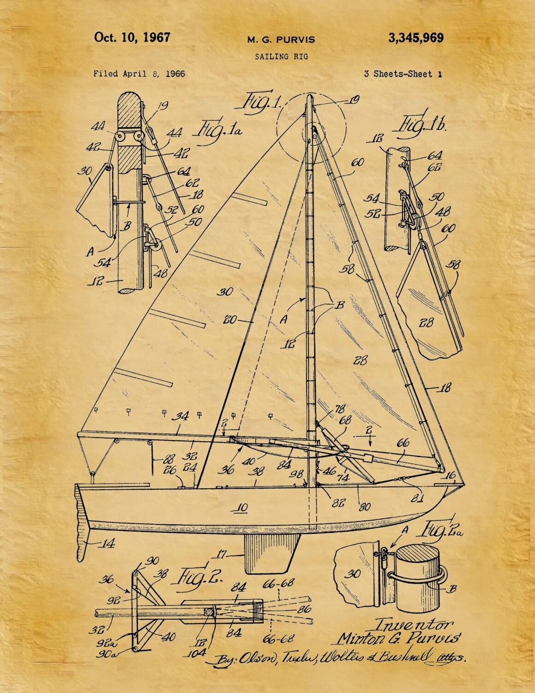 patent 1967 sailing rig art print poster boat ship sailing
