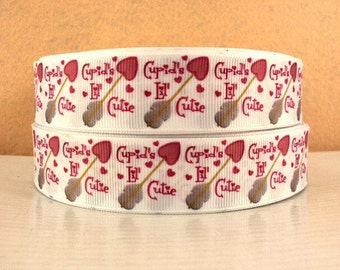 1 inch  Cupid's Lil' Cutie on White -  Valentine's day Love Printed Grosgrain Ribbon for Hair Bow