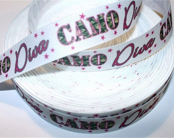 7/8 inch CAMO DIVA on White -- Camouflage Printed Grosgrain Ribbon for Hair Bow