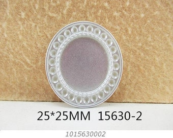 1 Piece - Silver Tone Resin Cameo - Center is 1 inch circle 15630-1 Cap Cameo Flat Back - Center is 1 inch