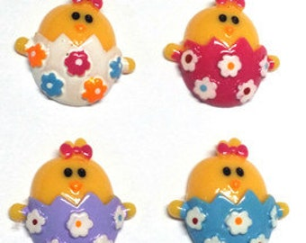 1 Piece - EASTER CUTIE CHICK - Resin - Approx. 1 inch (Choose from 4 colors)