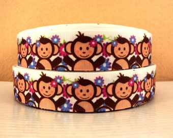 1 inch - Cute Monkey - Pink and Purple Flowers on White - Printed Grosgrain Ribbon for Hair Bow